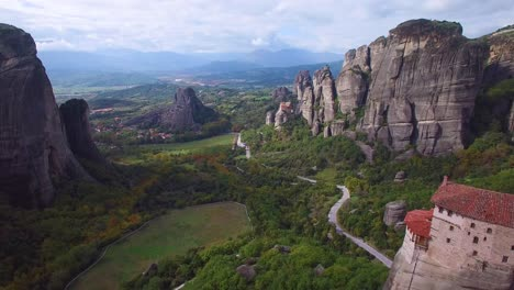 Beautiful-aerial-over-the-rock-formations-and-monasteries-of-Meteora-Greece-17