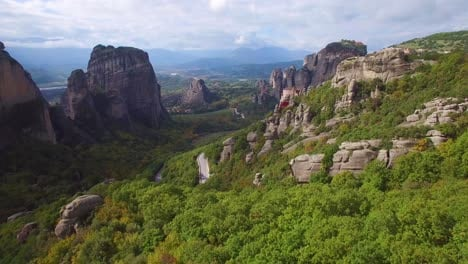 Beautiful-aerial-over-the-rock-formations-and-monasteries-of-Meteora-Greece-18