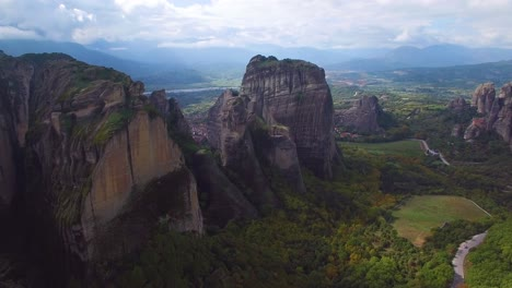 Beautiful-aerial-over-the-beautiful-rock-formations-of-Meteora-Greece