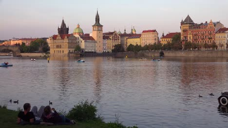 Automobile-themed-paddleboat-moves-on-the-Vltava-River-in-Prague-Czech-Republic
