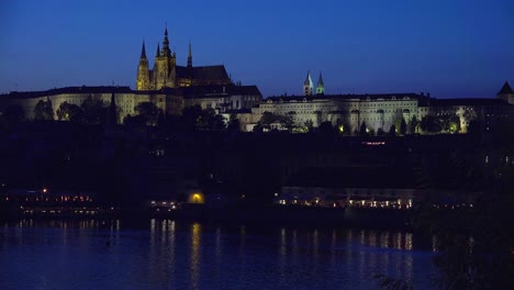 Beautiful-night-establishing-shot-of-the-Charles-Bridge-over-the-Vltava-River-in-Prague-Czech-Republic