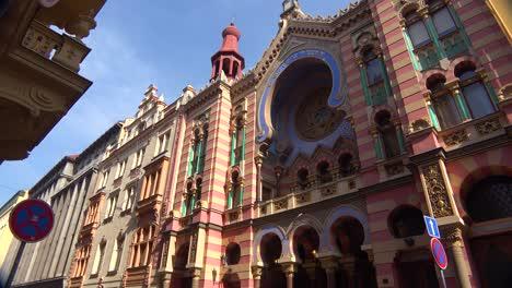 An-establishing-shot-of-the-Jewish-synagogue-of-Prague-Czech-Republic