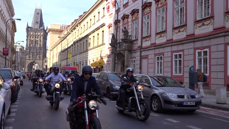 A-motorcycle-rally-moves-through-the-streets-of-Prague-Czech-Republic
