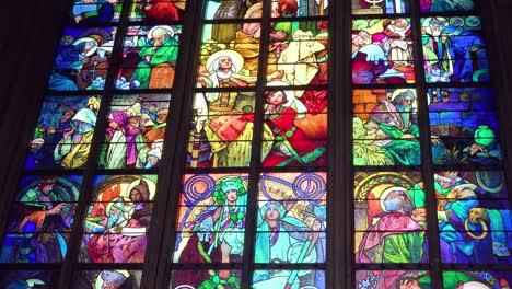 Beautiful-stained-glass-windows-decorate-a-church-in-Prague-Czech-Republic