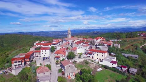 Gorgeous-aerial-of-a-small-Croatian-or-Italian-hill-town-or-village-1