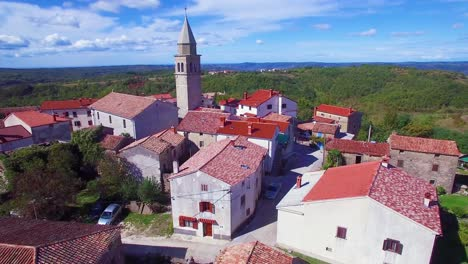 Gorgeous-aerial-of-a-small-Croatian-or-Italian-hill-town-or-village-5