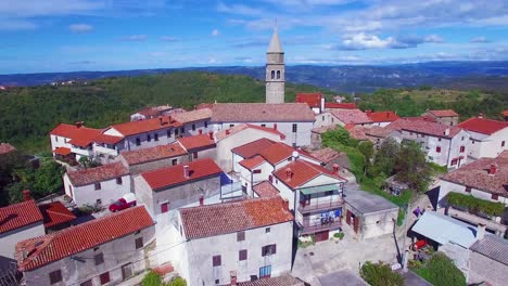 Gorgeous-aerial-of-a-small-Croatian-or-Italian-hill-town-or-village-7