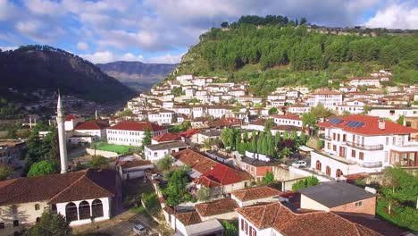 Good-aerial-shot-of-ancient-houses-on-the-hillside-in-Berat-Albania-3