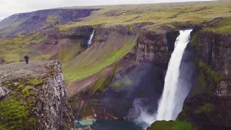 Aerial-over-the-beautiful-and-amazing-high-waterfall-of-Haifoss-in-Iceland-1