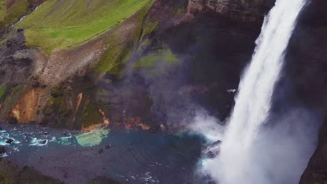 Aerial-over-the-beautiful-and-amazing-high-waterfall-of-Haifoss-in-Iceland-3