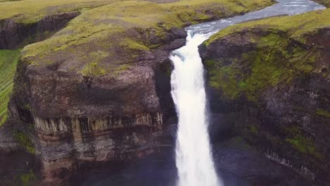 Aerial-over-the-beautiful-and-amazing-high-waterfall-of-Haifoss-in-Iceland-7