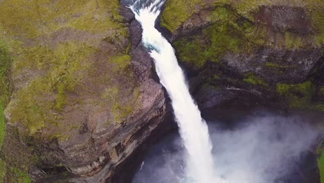 Aerial-over-the-beautiful-and-amazing-high-waterfall-of-Haifoss-in-Iceland-9