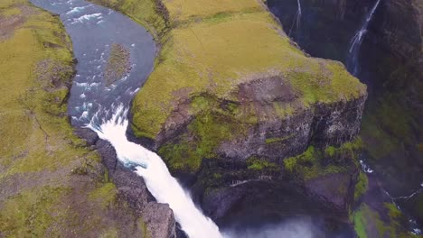 Aerial-over-the-beautiful-and-amazing-high-waterfall-of-Haifoss-in-Iceland-11