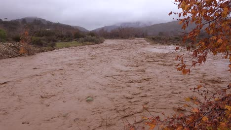 Flood-waters-moving-fast-down-the-Ventura-River-near-Ojai-California-with-storm-runoff-during-winter-weather-flooding