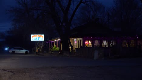 Establishing-shot-at-night-of-a-country-style-roadside-cafe-or-restaurant