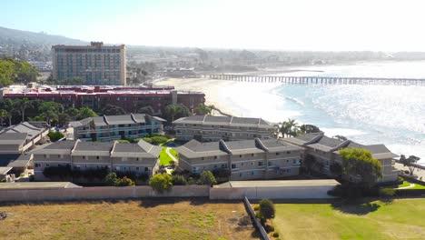 A-drone-aerial-of-Southern-California-beach-town-of-Ventura-California
