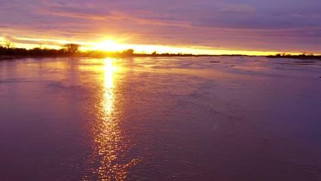 Gorgeous-aerial-shot-of-the-Platte-River-and-rapids-flowing-near-Kearney-Nebraska