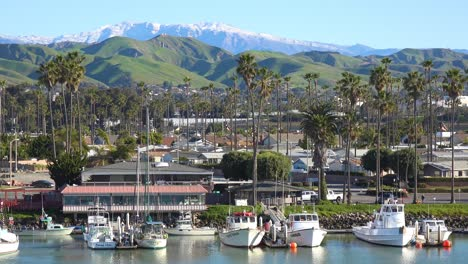 Snow-on-the-mountains-behind-the-California-coastal-town-of-Ventura-California-following-a-winter-storm