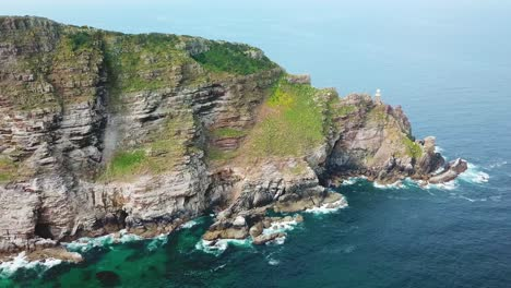 Aerial-shot-of-the-Cape-Of-Good-Hope-and-Cape-Point-where-Indian-and-Atlantic-Oceans-meet-at-the-southern-tip-of-South-Africa
