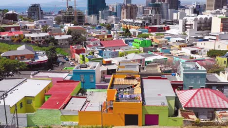 Aerial-over-colorful-Bo-kaap-Malay-quarter-Cape-Town-neighborhood-and-downtown-city-skyline-South-Africa-2