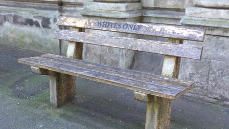 A-bench-sayings-whites-only-along-a-street-in-Cape-Town-South-Africa-remembers-the-Apartheid-era-of-segregation-racism-and-separation-of-whites-and-blacks