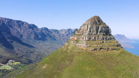 Great-aerial-shot-of-Lion-s-Head-peak-and-Table-Mountain-in-Cape-Town-South-Africa