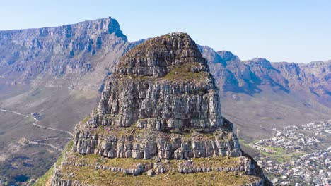 Great-aerial-shot-of-Lion-s-Head-peak-and-Table-Mountain-in-Cape-Town-South-Africa-1