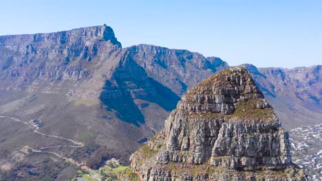 Great-aerial-shot-of-Lion-s-Head-peak-and-Table-Mountain-in-Cape-Town-South-Africa-2