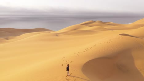 Aerial-over-a-female-woman-model-standing-on-the-beautiful-sand-dunes-of-the-Namib-Desert-in-Namibia-with-the-Skeleton-Coast-background