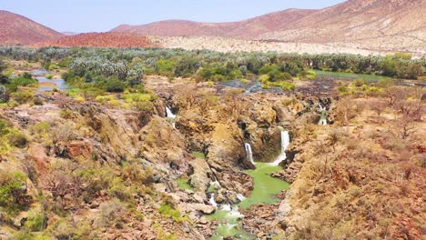 A-beautiful-aerial-over-Epupa-Falls-on-the-border-of-Angola-and-Namibia-Africa
