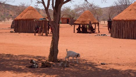 Small-poor-African-Himba-village-on-the-Namibia-Angola-border-with-mud-huts-goats-and-children