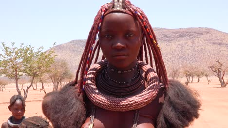 Close-up-portrait-of-a-Himba-tribal-woman-with-large-necklace-and-amazing-braided-and-mud-dried-dreadlocks-hairstyle