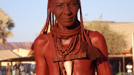 Tilt-up-portrait-of-a-Himba-tribal-African-woman-face-with-mud-dreadlocks-hair-and-neck-ring-jewelry