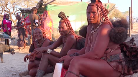 Three-Himba-tribal-women-sit-by-the-road-in-the-market-town-of-Opuwo-Namibia-with-amazing-braided-mud-soaked-and-dreadlock-hair-styles-2