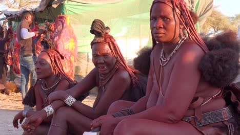 Three-Himba-tribal-women-sit-by-the-road-in-the-market-town-of-Opuwo-Namibia-with-amazing-braided-mud-soaked-and-dreadlock-hair-styles-3