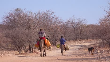 Two-Himba-men-ride-donkeys-along-a-dusty-road-in-Africa-Damaraland-Namibia-bringing-water-to-remote-villages-1