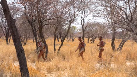 San-tribal-bushman-hunters-in-Namibia-Africa-walk-quiety-sniff-the-air-and-sample-the-soil-for-wind-direction-hunting-for-prey-3