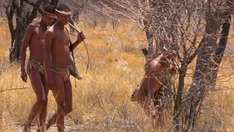 San-tribal-bushman-hunters-in-Namibia-Africa-walk-quiety-sniff-the-air-and-sample-the-soil-for-wind-direction-hunting-for-prey-4