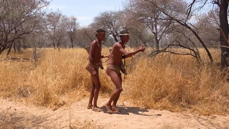 San-tribal-bushman-hunters-in-Namibia-Africa-walk-quiety-sniff-the-air-and-sample-the-soil-for-wind-direction-hunting-for-prey-5