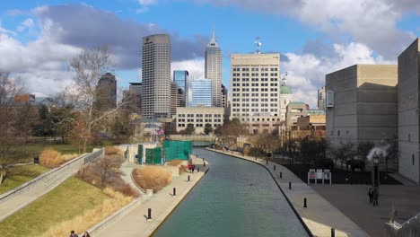 Establishing-aerial-drone-shot-of-downtown-city-skyline-and-riverfront-walk-Indianapolis-Indiana