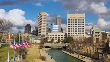 Establishing-aerial-drone-shot-of-downtown-city-skyline-and-riverfront-walk-Indianapolis-Indiana-1