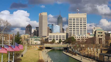 Establishing-aerial-drone-shot-of-downtown-city-skyline-and-riverfront-walk-Indianapolis-Indiana-2