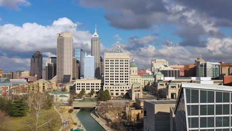 Establishing-aerial-drone-shot-of-downtown-city-skyline-and-riverfront-walk-Indianapolis-Indiana-3