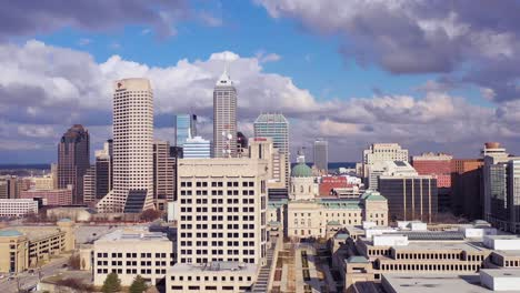 Nice-drone-aerial-of-downtown-Indianapolis-Indiana-with-skyline-and-business-district-visible