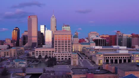 Nice-drone-aerial-of-downtown-Indianapolis-Indiana-at-dusk-or-night