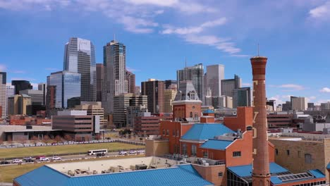 Aerial-of-downtown-Denver-Colorado-business-district-and-establishing-skyline-2