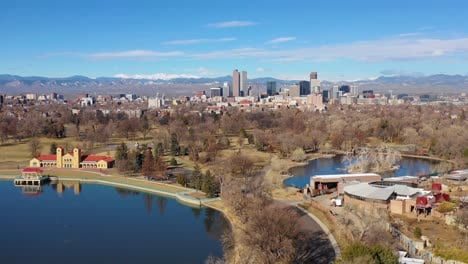 Good-aerial-of-downtown-Denver-Colorado-skyline-from-large-lake-at-City-Park-2