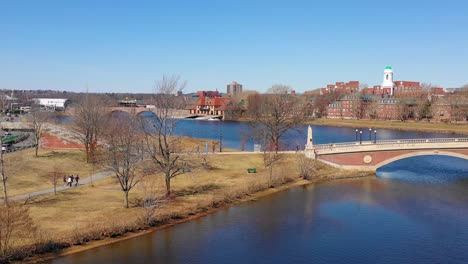 Aerial-over-the-John-W-Weeks-Footbridge-reveals-Harvard-University-campus-on-the-Charles-River-2
