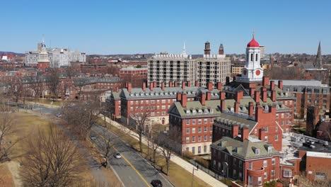 Aerial-stationary-establishing-shot-of-the-Kennedy-School-at-Harvard-University