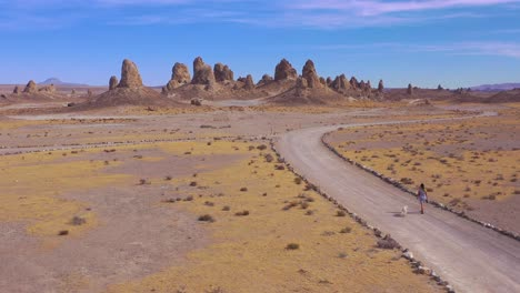 A-woman-and-dog-walk-down-a-dirt-road-at-the-Trona-Pinnacles-rock-formations-in-the-Mojave-Desert-near-Death-Valley